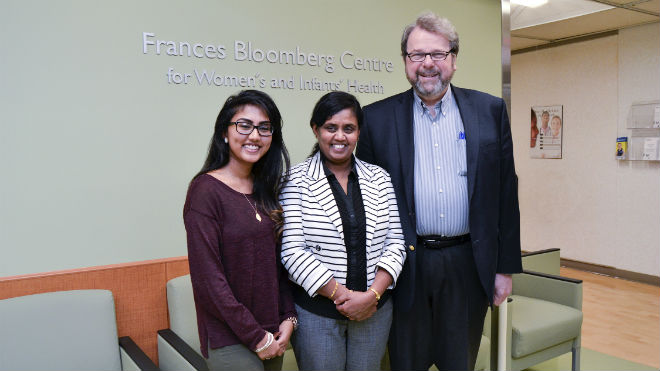Priyanka Kugamoorthy with her mother, Mangayatgarasi Kugamoorthy, and Dr. Jack Colman