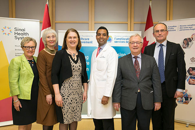 Hon. Jane Philpott, federal Minister of Health; Samir K. Sinha, MD, DPhil, FRCPC, Director of Geriatrics, Sinai Health System; Maureen O'Neil, O.C., President of CFHI; Dr. John Muscedere, Scientific Director and Chief Executive Officer, Canadian Frailty Network